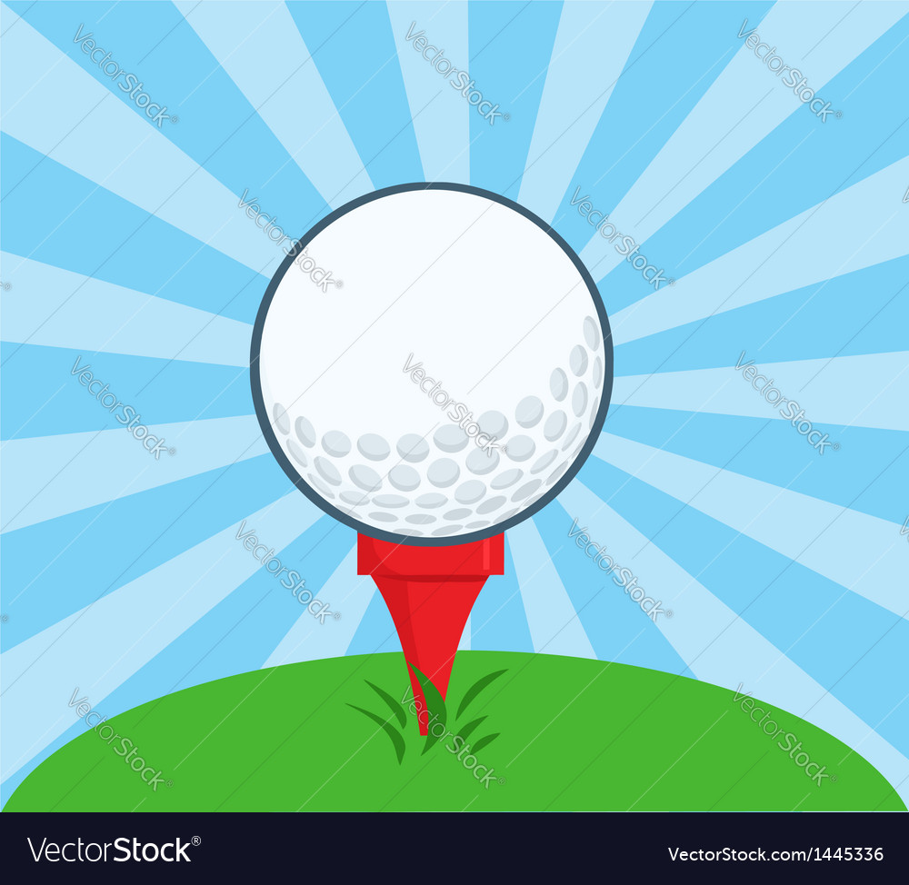 Golf ball with tee ready vector | Price: 1 Credit (USD $1)