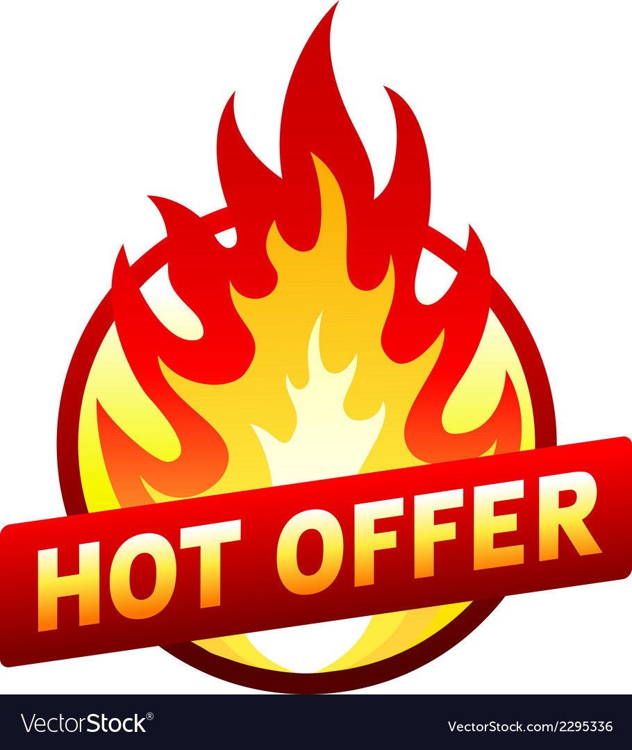 Hot offer red price sticker badge with flame vector | Price: 1 Credit (USD $1)
