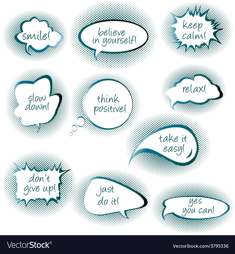 Set of chat bubbles with motivational and positive vector | Price: 1 Credit (USD $1)