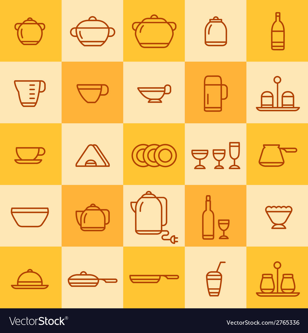 Set of icons of different types of cookware vector | Price: 1 Credit (USD $1)
