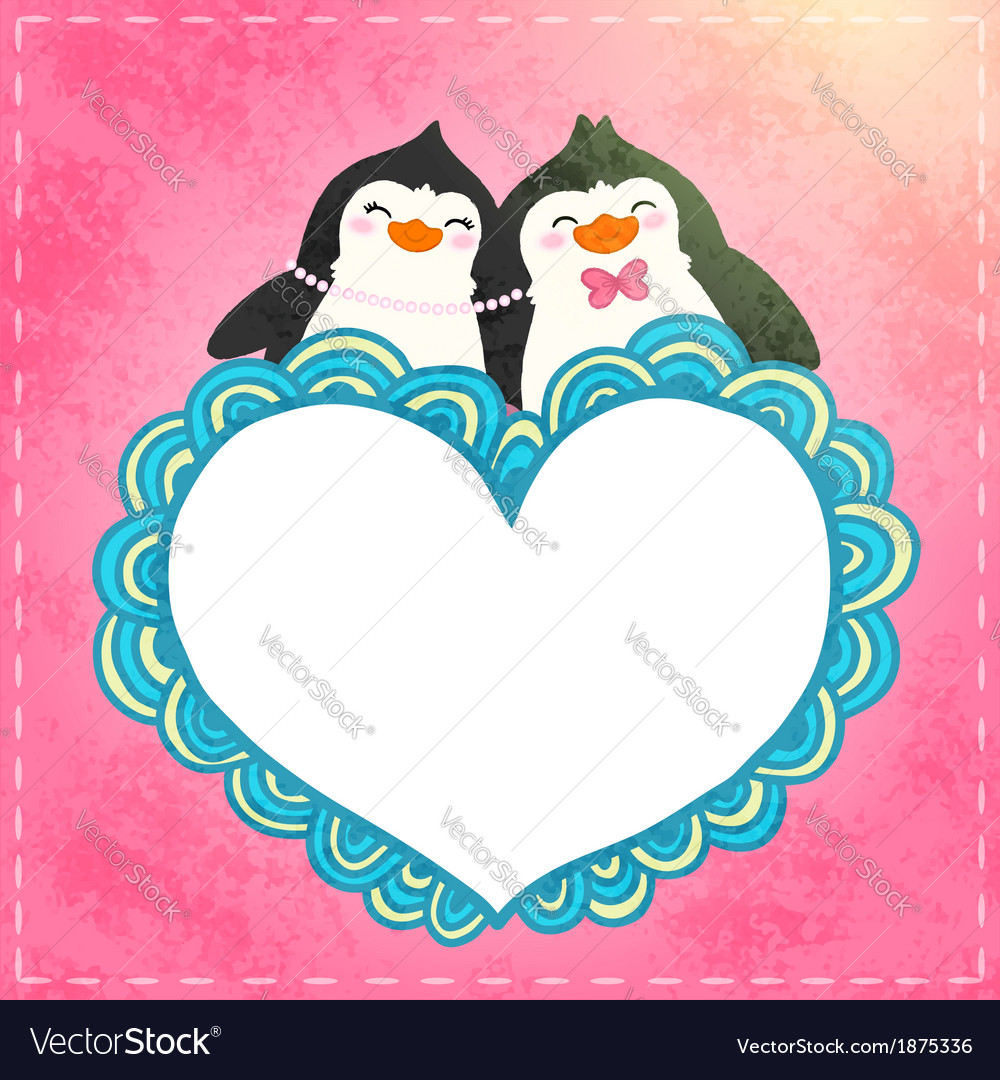 Valentines card with cute cartoon penguine vector | Price: 1 Credit (USD $1)