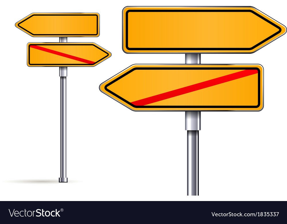 Blank signs pointing in opposite directions vector | Price: 1 Credit (USD $1)