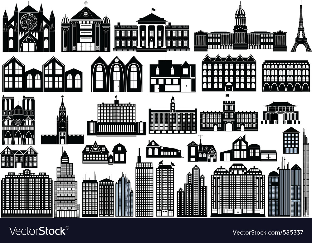 Building fronts vector | Price: 1 Credit (USD $1)