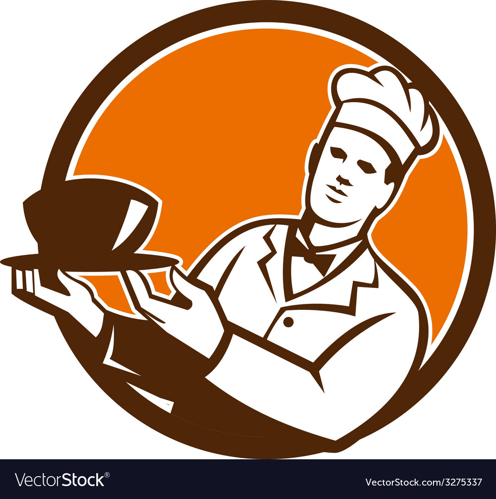 Chef cook holding serving bowl circle retro vector | Price: 1 Credit (USD $1)