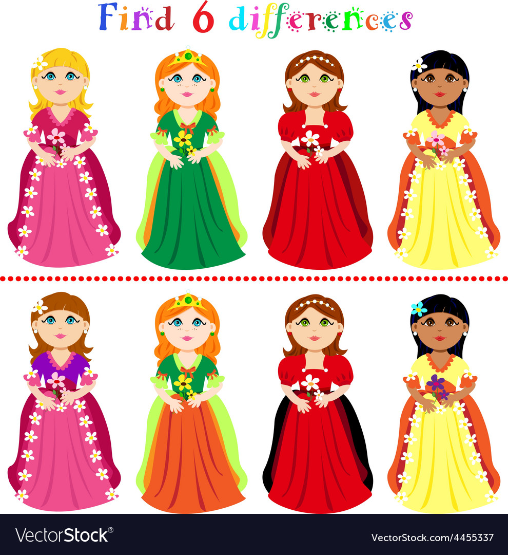 Difference game with princesses vector | Price: 1 Credit (USD $1)