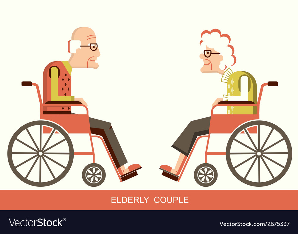 Elderly peoplepensioners in a wheelchairs vector | Price: 1 Credit (USD $1)