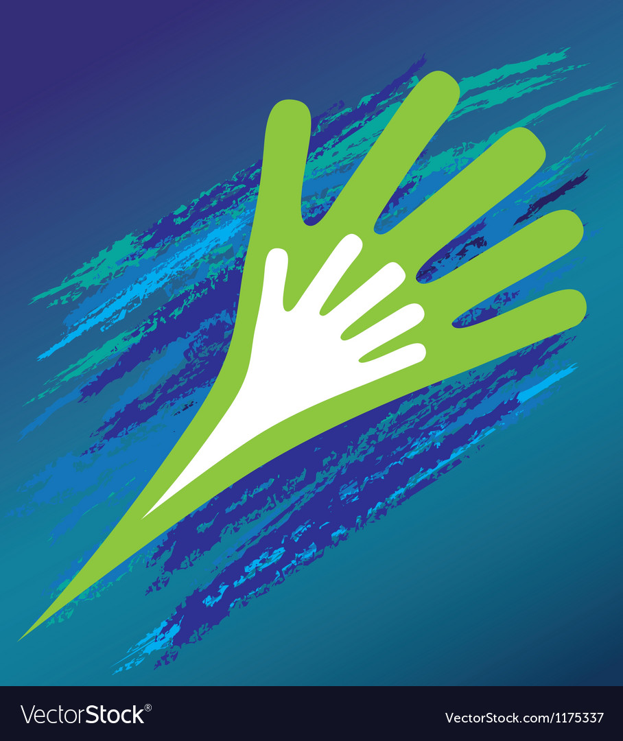 Hand of the child in father encouragement help vector | Price: 1 Credit (USD $1)