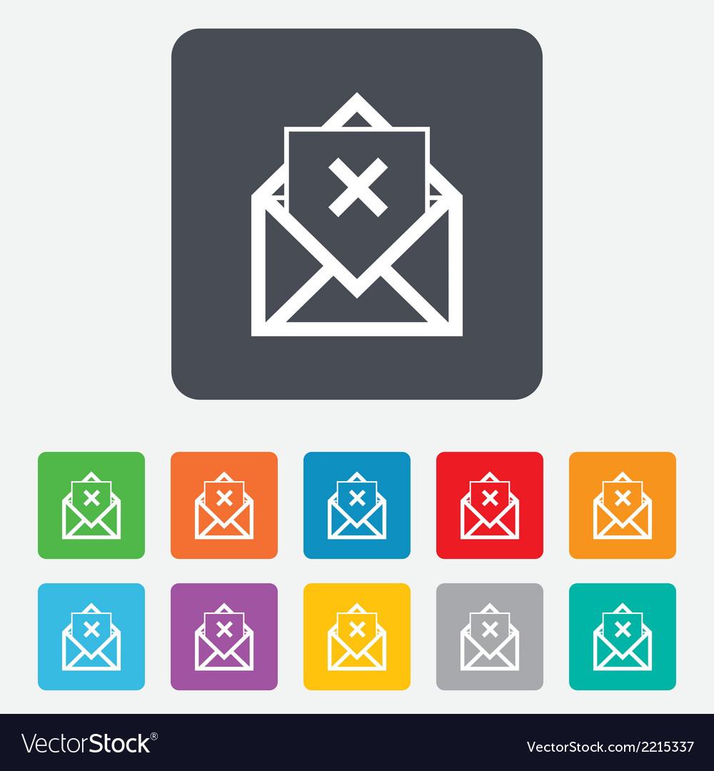 Mail delete icon envelope symbol message sign vector | Price: 1 Credit (USD $1)