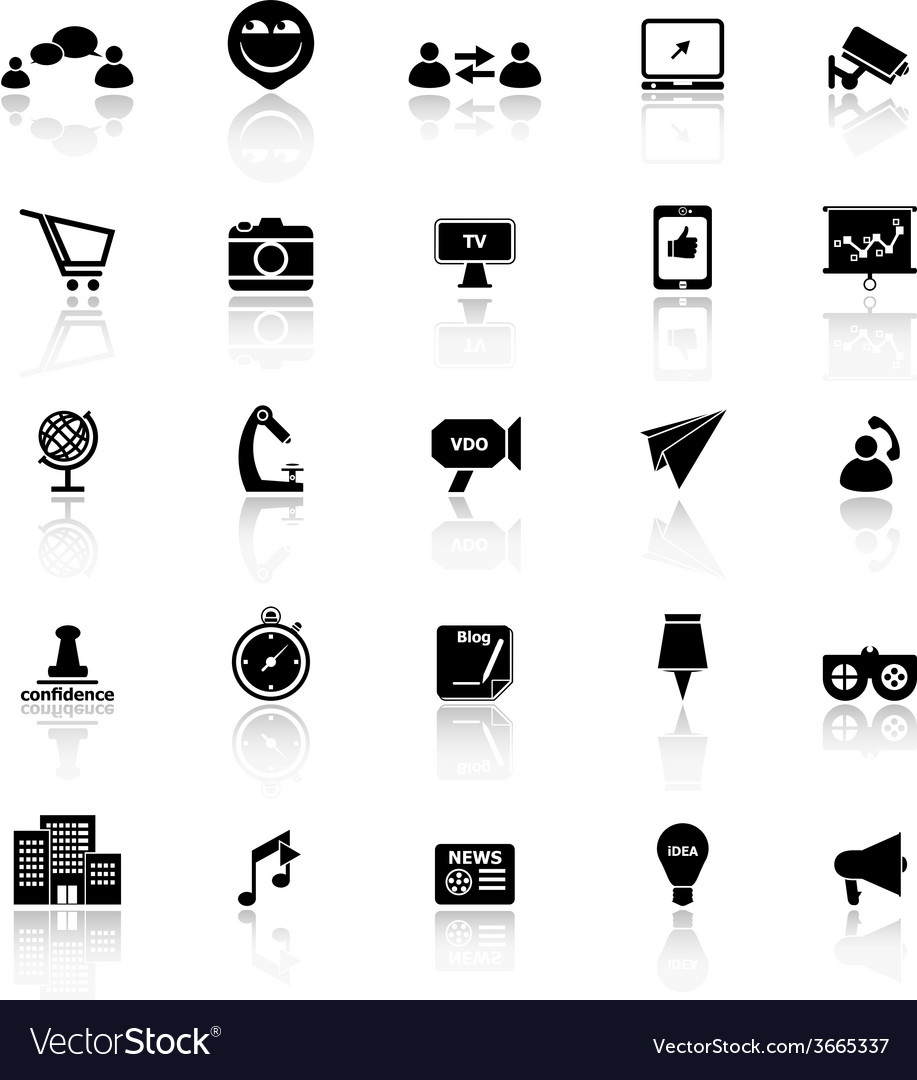 Media marketing icons with reflect on white vector   Price: 1 Credit (USD $1)