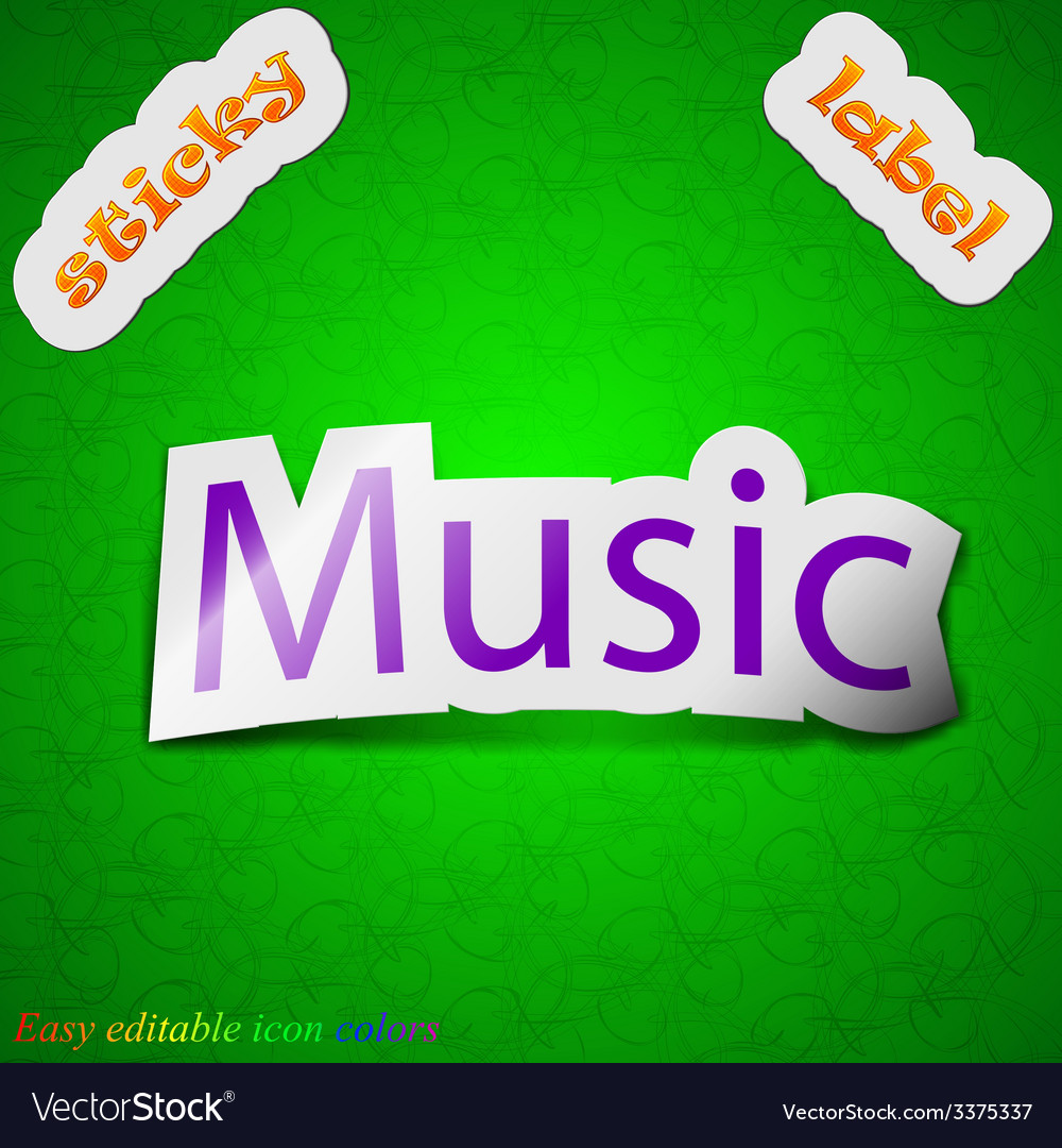 Music icon sign symbol chic colored sticky label vector | Price: 1 Credit (USD $1)