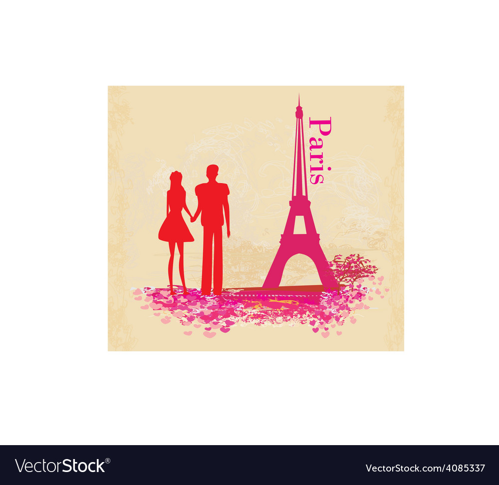 Romantic couple in paris - abstract card vector | Price: 1 Credit (USD $1)