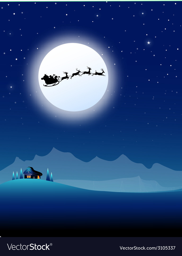 Santa sleigh on mountain in christmas night- vector | Price: 3 Credit (USD $3)