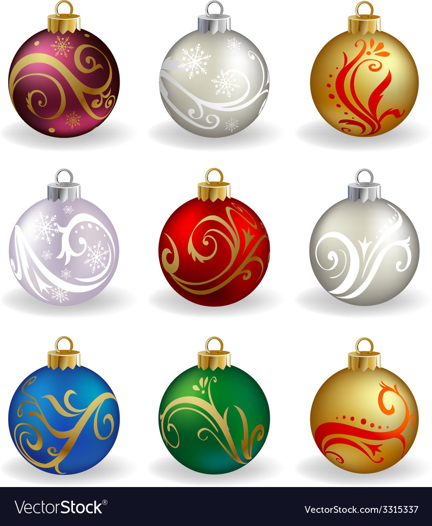 Set of nine different color christmas balls vector | Price: 1 Credit (USD $1)