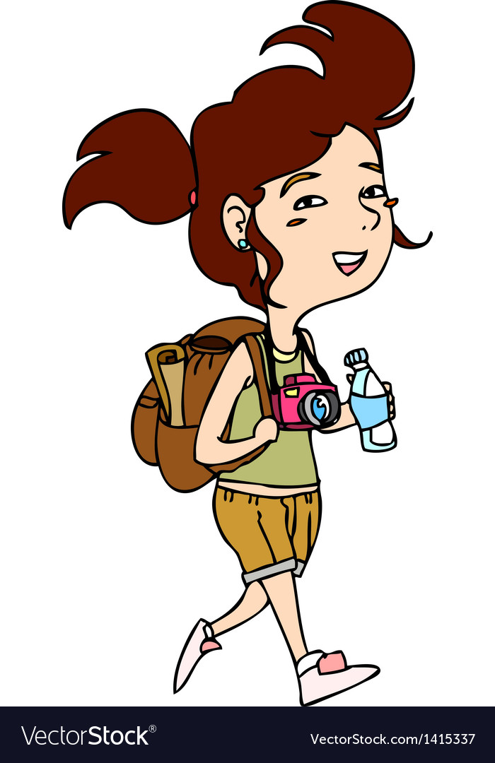 Traveller woman walking vector | Price: 1 Credit (USD $1)