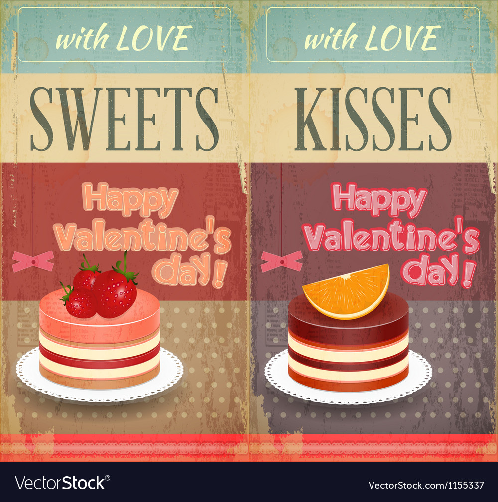 Vintage retro two cards to the valentines day vector | Price: 1 Credit (USD $1)