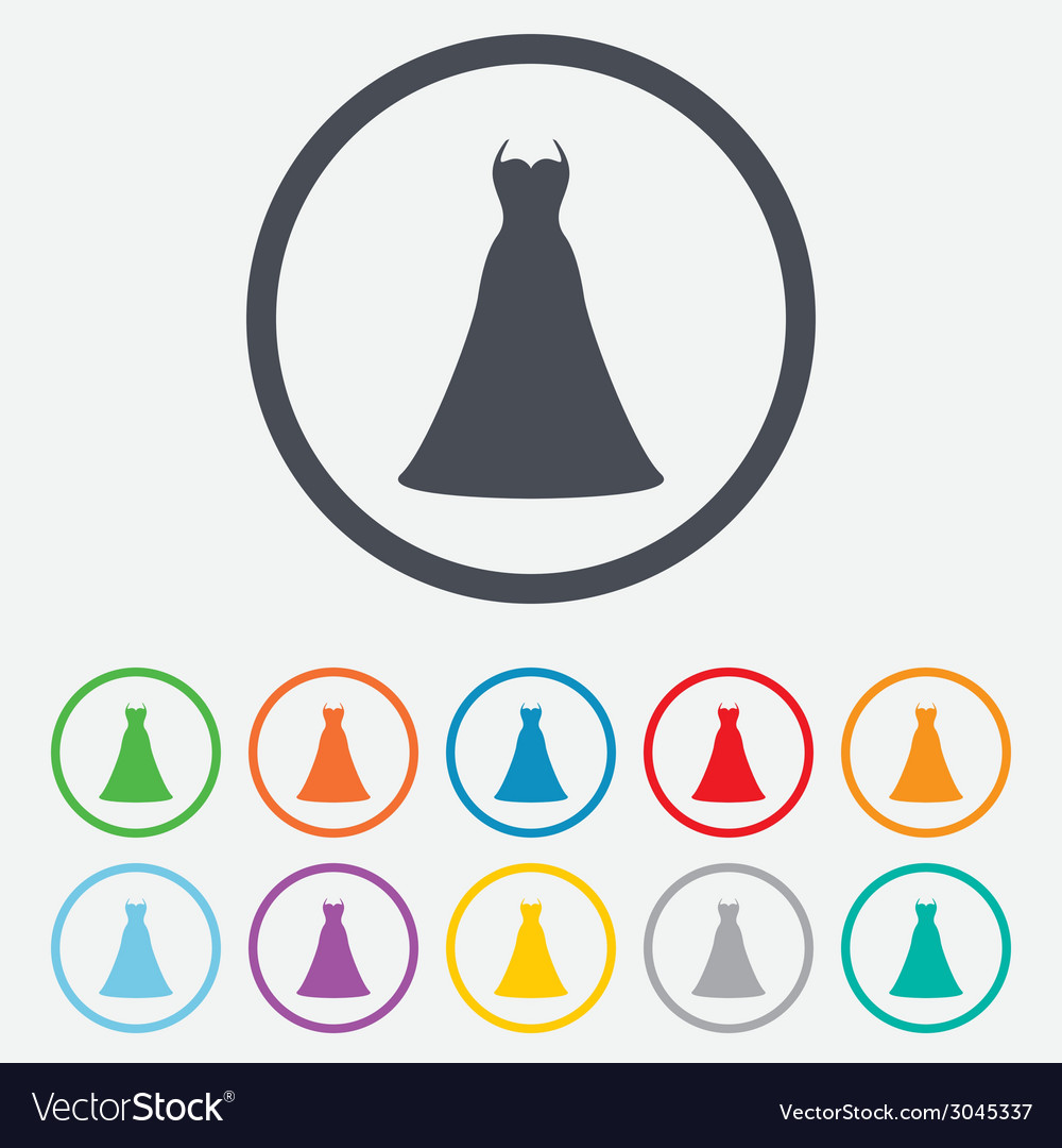 Wedding dress sign icon elegant bride symbol vector | Price: 1 Credit (USD $1)