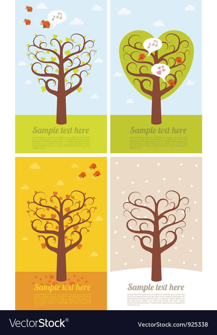 4 banners with seasons vector | Price: 1 Credit (USD $1)