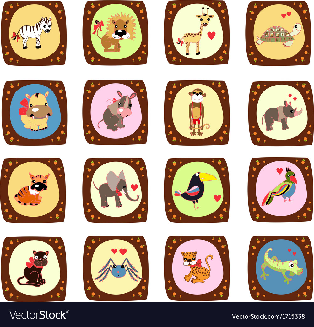 Cute animals zoo vector | Price: 1 Credit (USD $1)