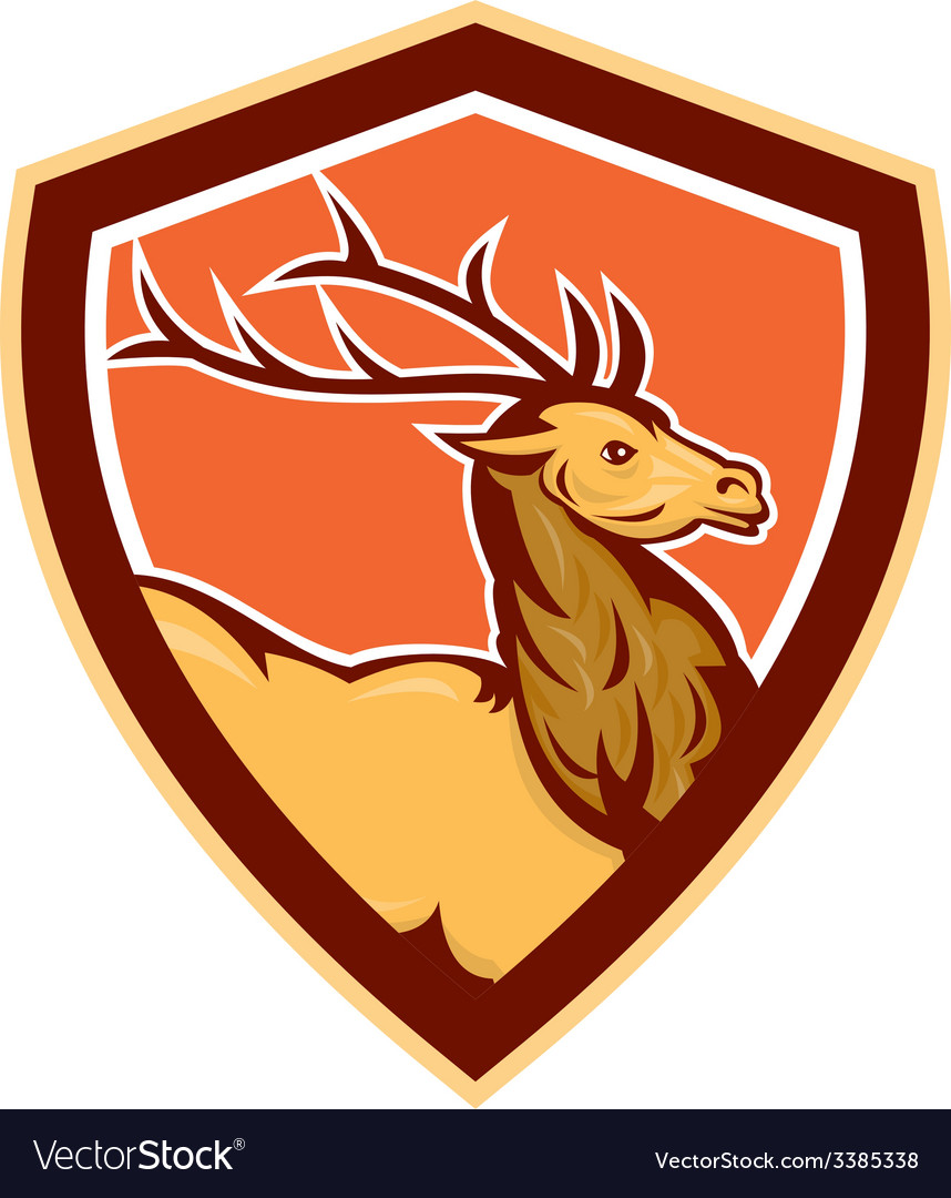 Deer stag buck head shield retro vector | Price: 1 Credit (USD $1)