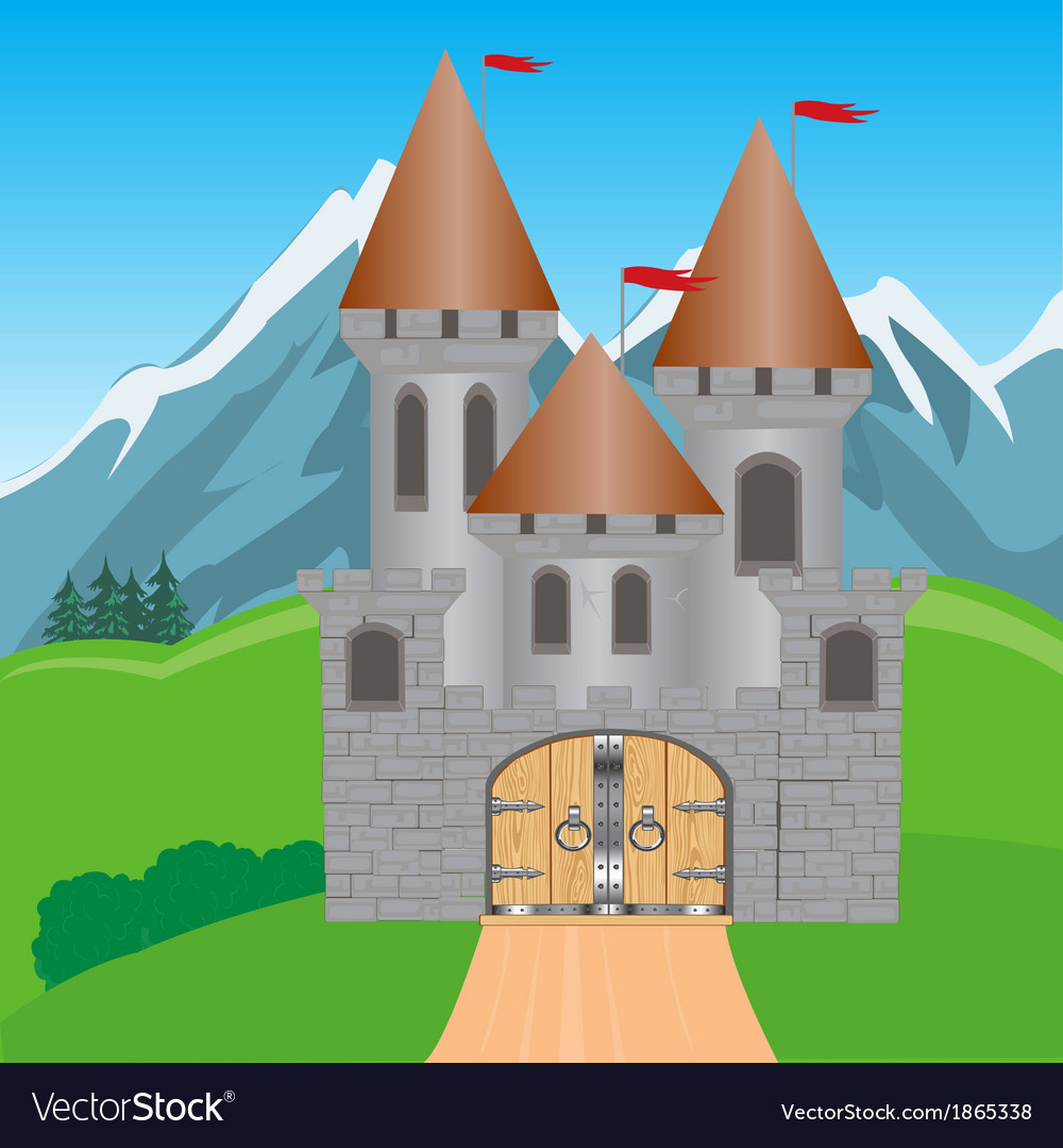 Fortress in mountain vector | Price: 1 Credit (USD $1)