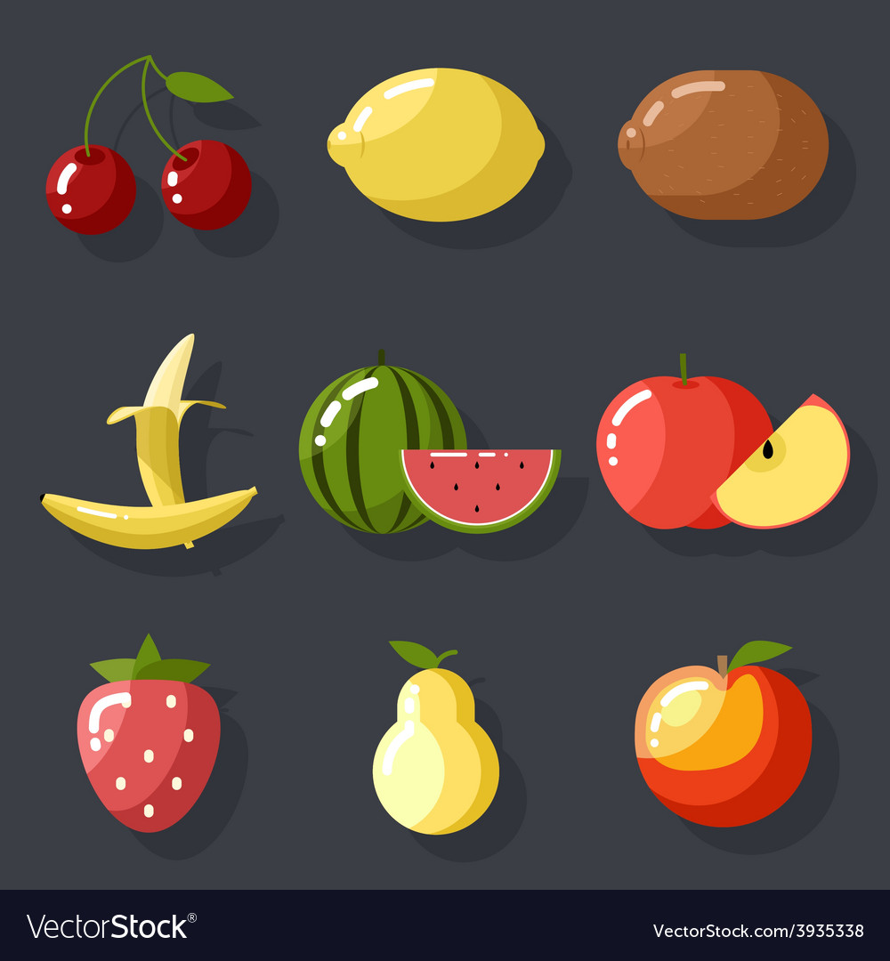 Fresh tasty fruit set apple cherry watermelon kiwi vector | Price: 1 Credit (USD $1)