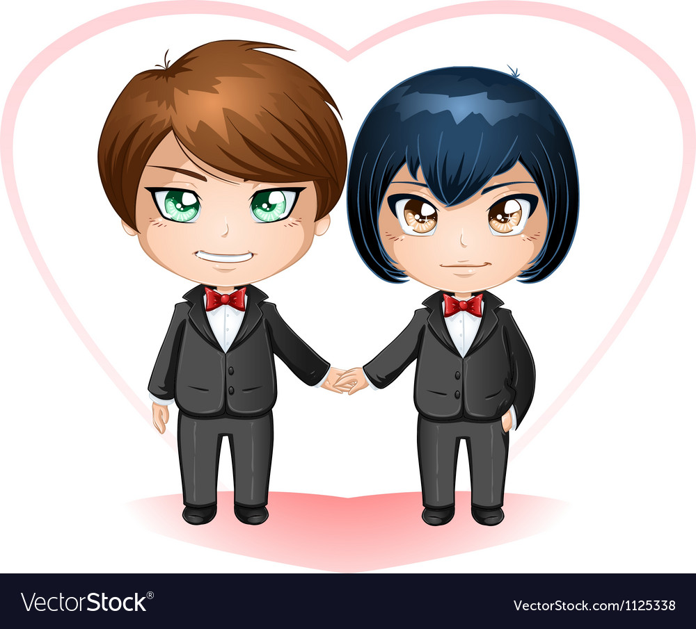Gay grooms getting married vector | Price: 1 Credit (USD $1)