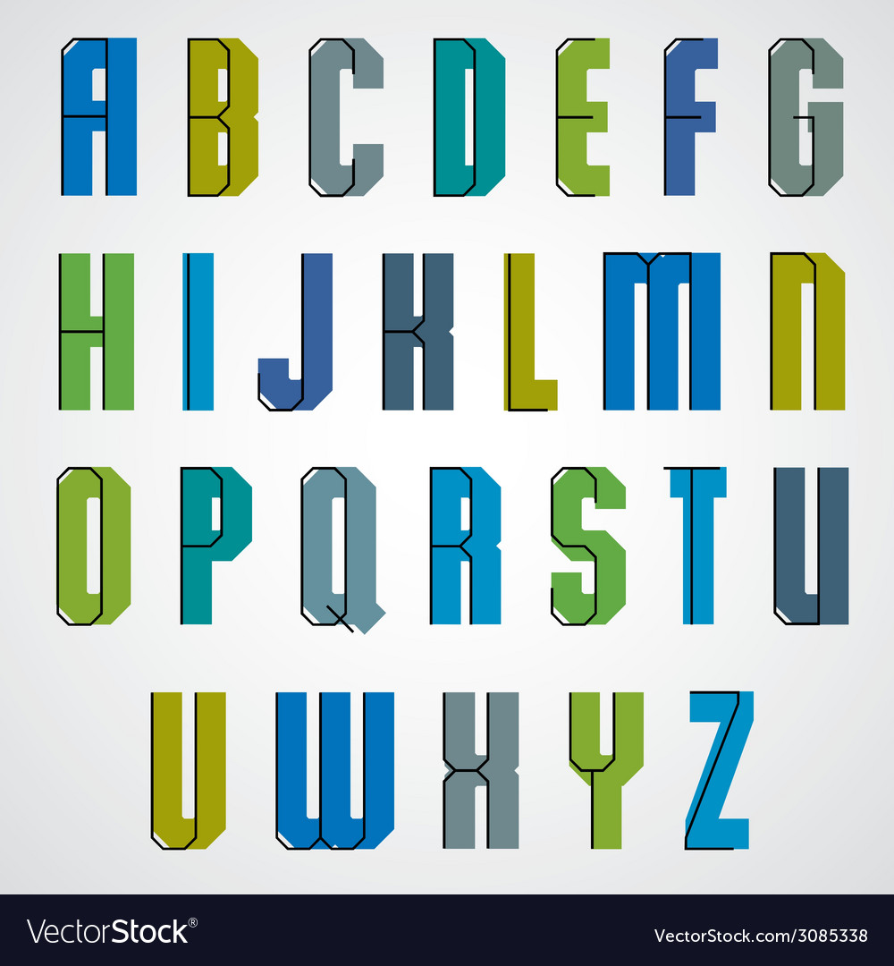 Geometric alphabet bold and condensed font in vector | Price: 1 Credit (USD $1)