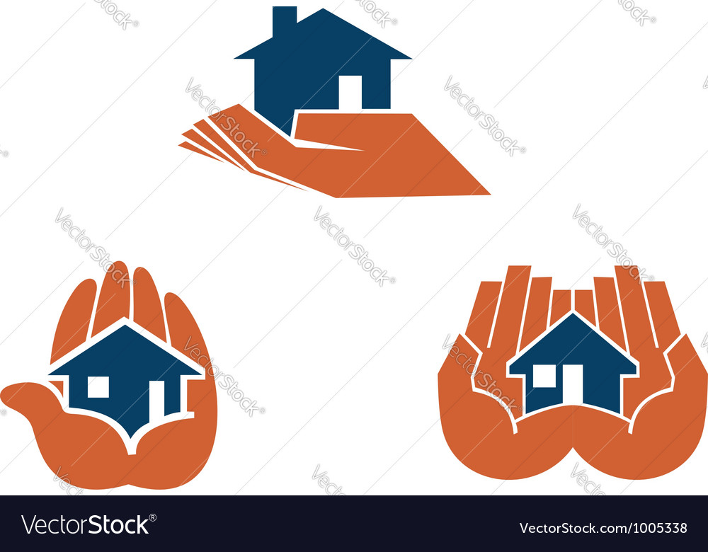 House in hands symbols and pictograms vector | Price: 1 Credit (USD $1)