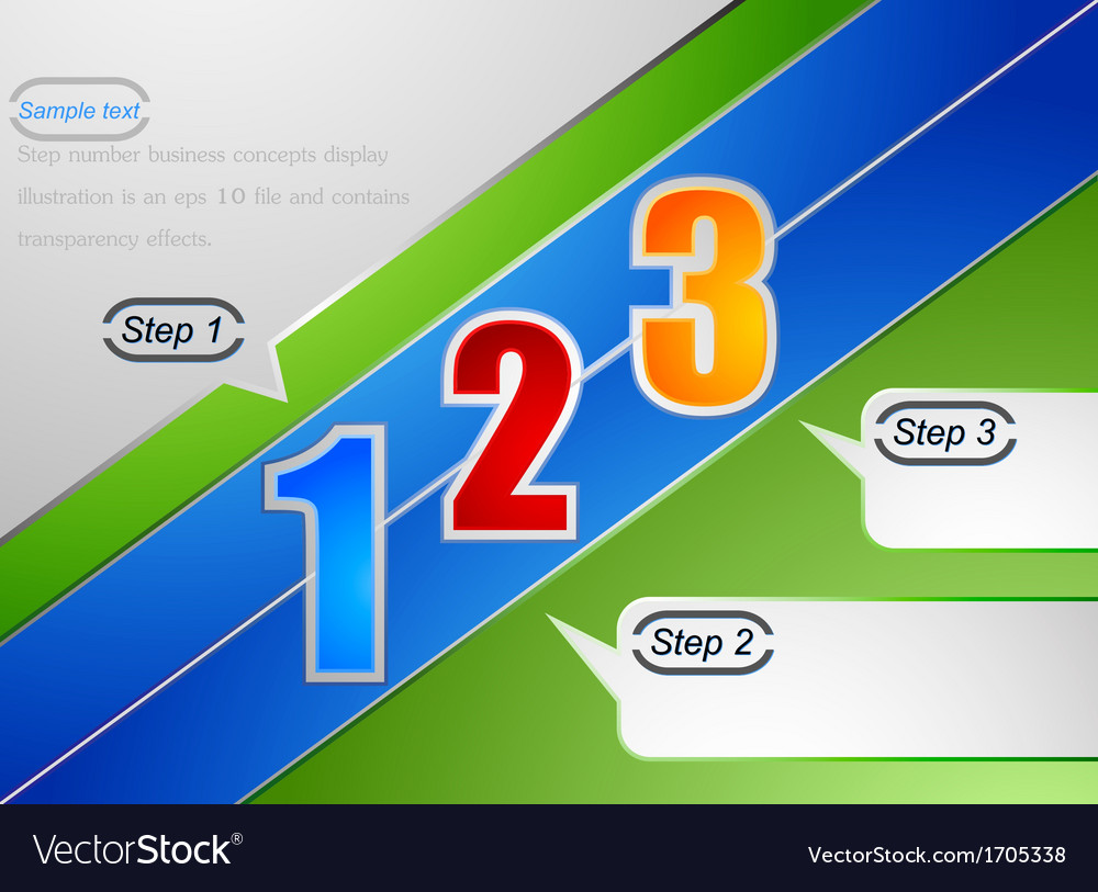 Step number business concepts display background vector | Price: 1 Credit (USD $1)
