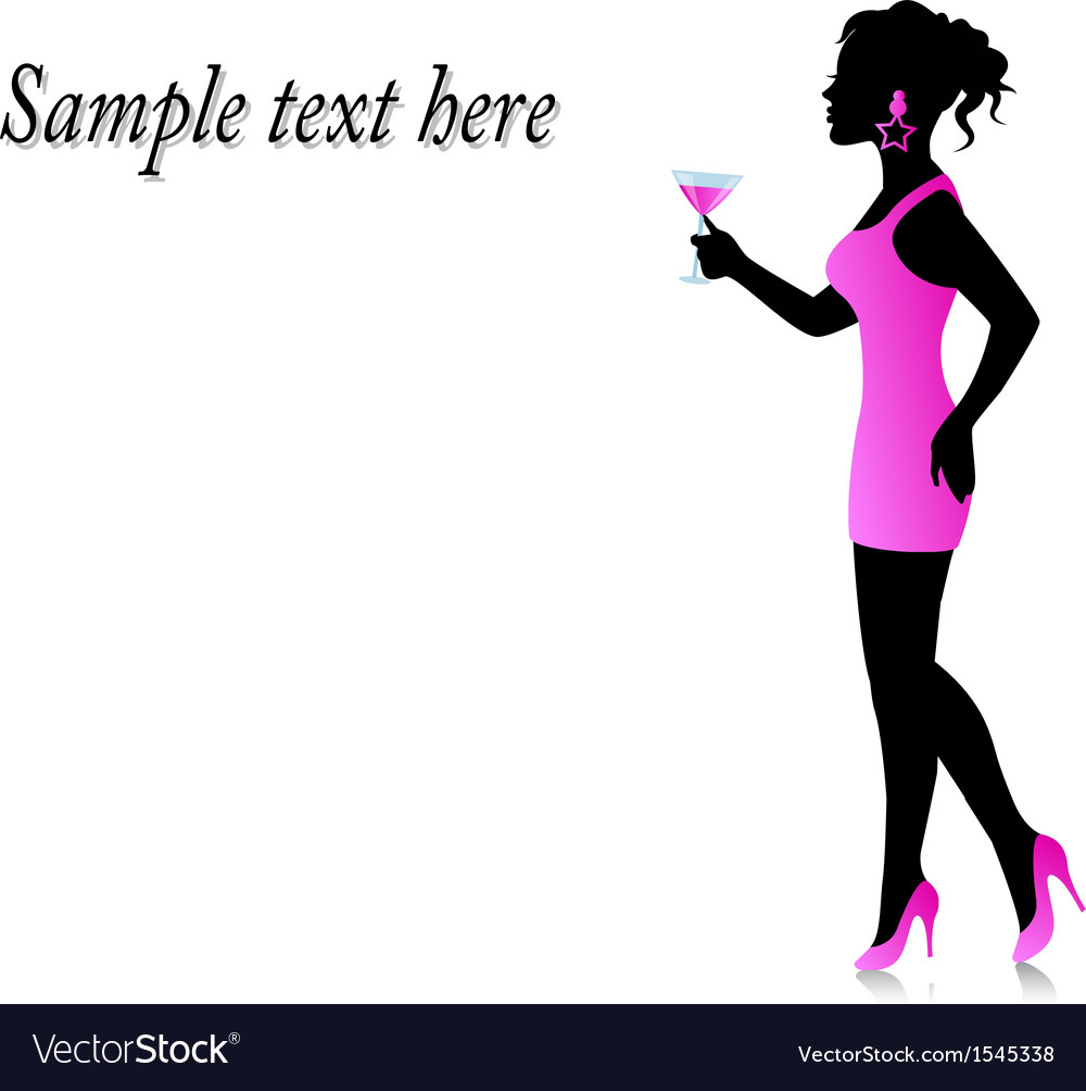 Woman in a pink dress with a glass in hand vector | Price: 1 Credit (USD $1)