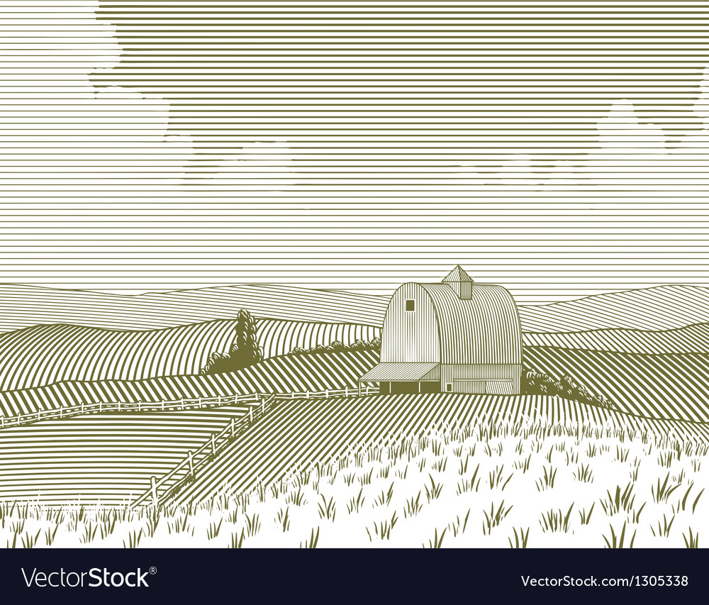 Woodcut barn and farm vector | Price: 1 Credit (USD $1)