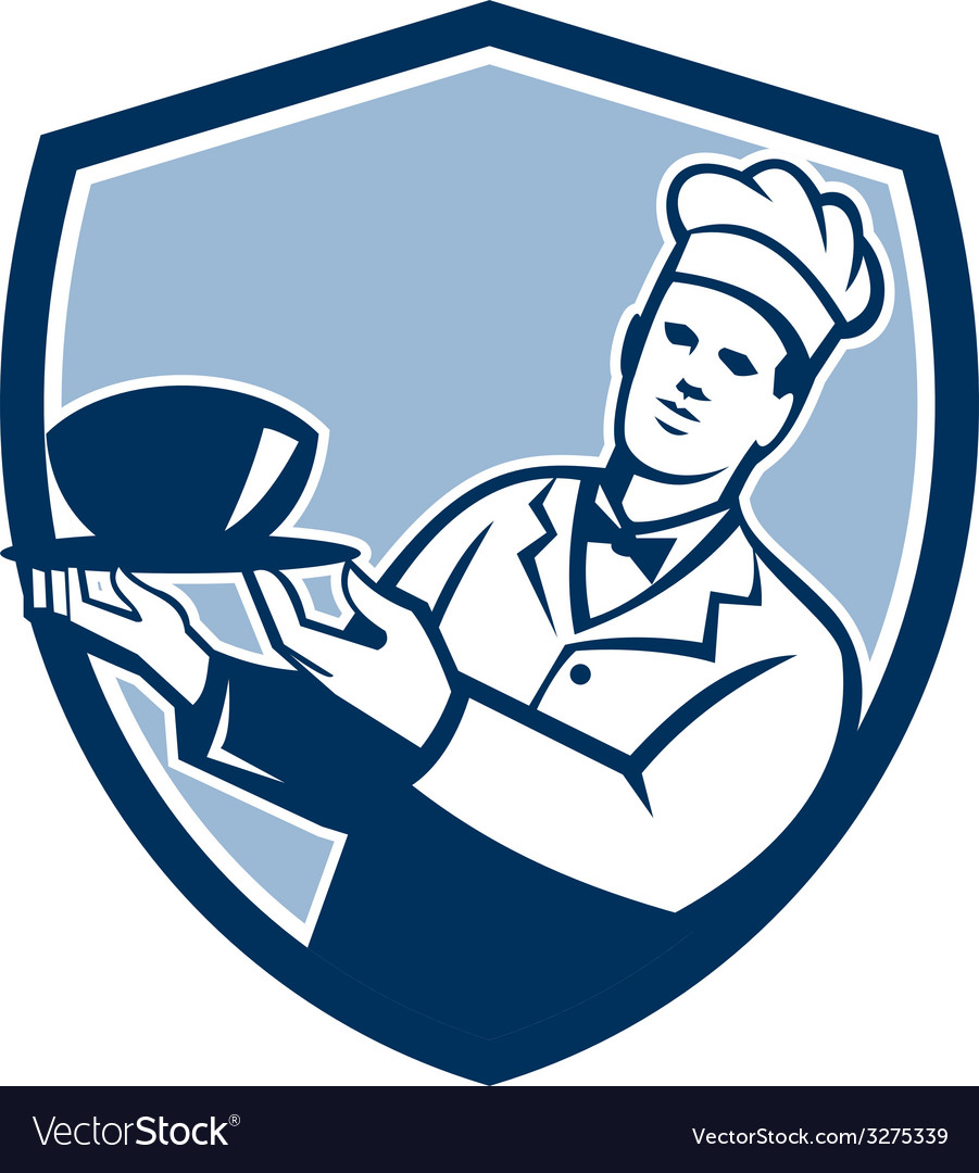 Chef cook holding serving bowl shield retro vector | Price: 1 Credit (USD $1)