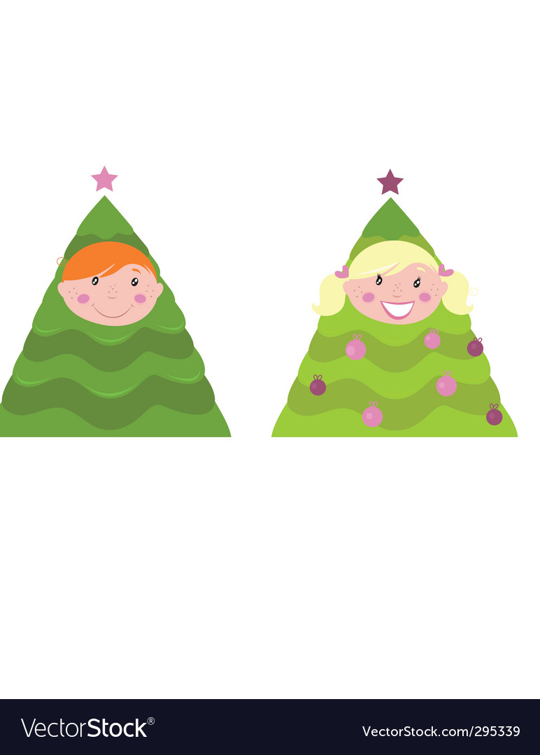 Christmas kid tree costumes vector | Price: 1 Credit (USD $1)