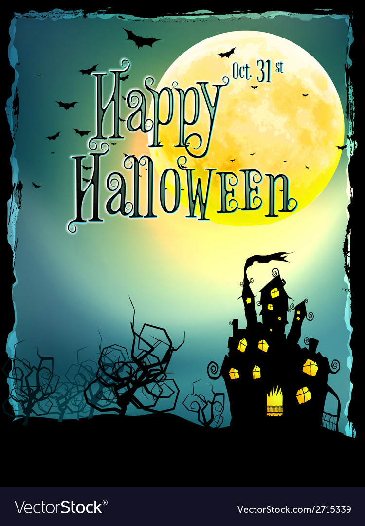 Halloween background with haunted house eps 10 vector | Price: 1 Credit (USD $1)