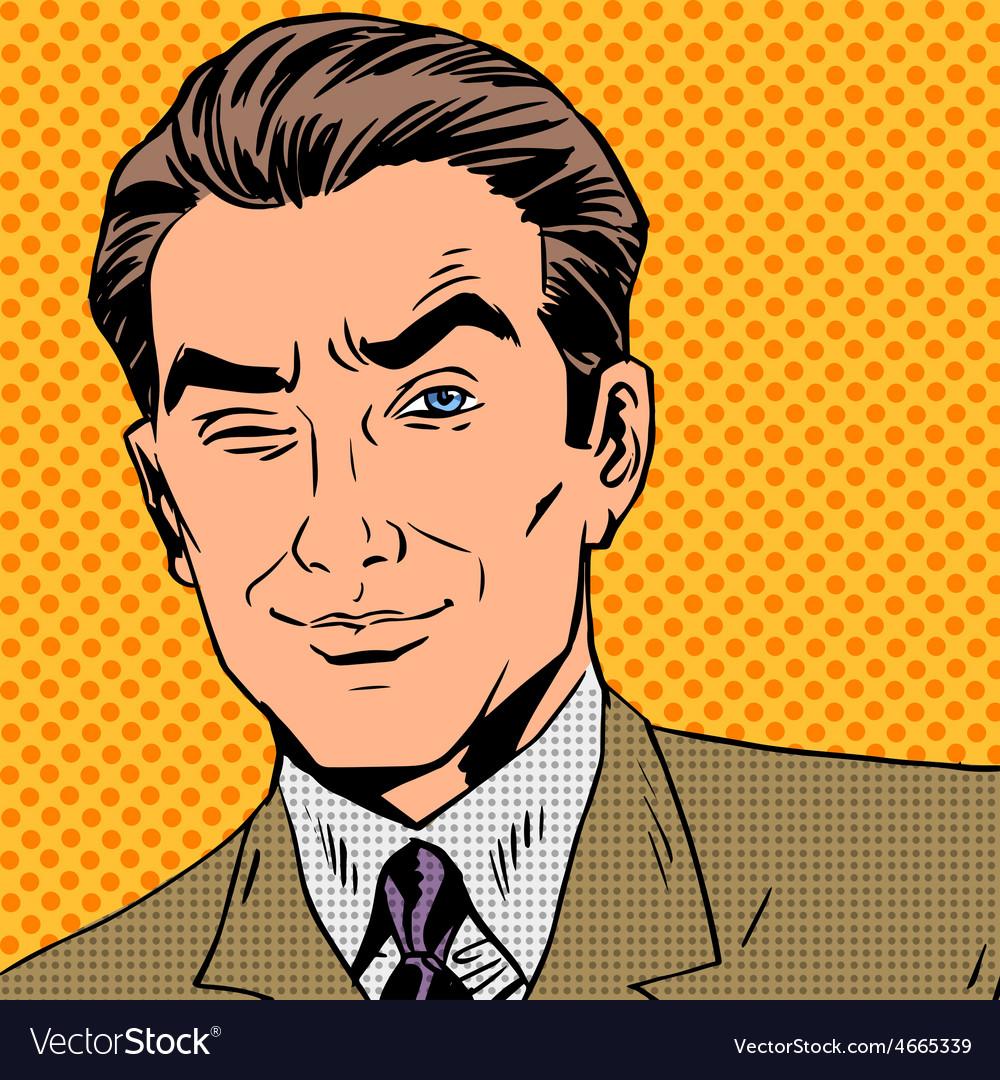 Man looks up closing one eye pop art comics retro vector | Price: 1 Credit (USD $1)