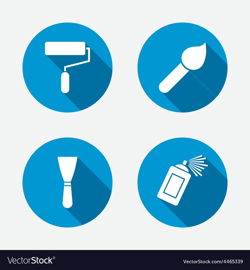 Paint roller brush icon spray can and spatula vector | Price: 1 Credit (USD $1)