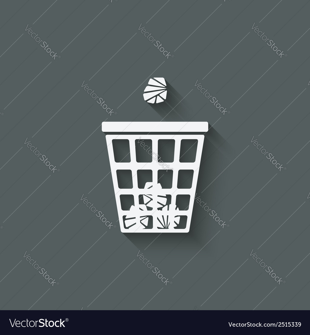 Trash basket with crumpled paper vector   Price: 1 Credit (USD $1)