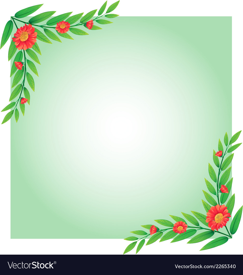 An empty template with plant borders vector | Price: 1 Credit (USD $1)