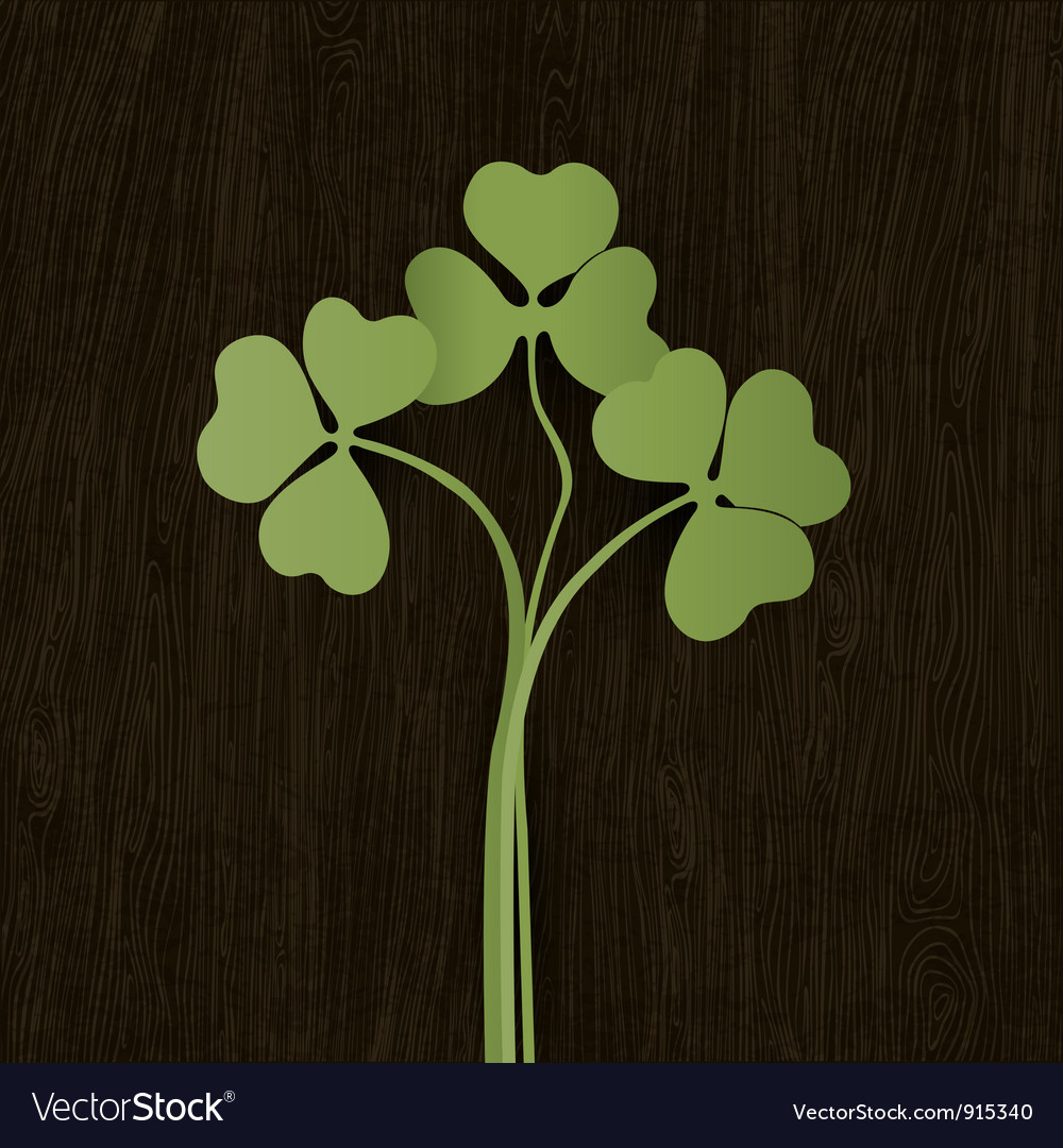 Clover leaves on wooden weathered texture vector | Price: 1 Credit (USD $1)