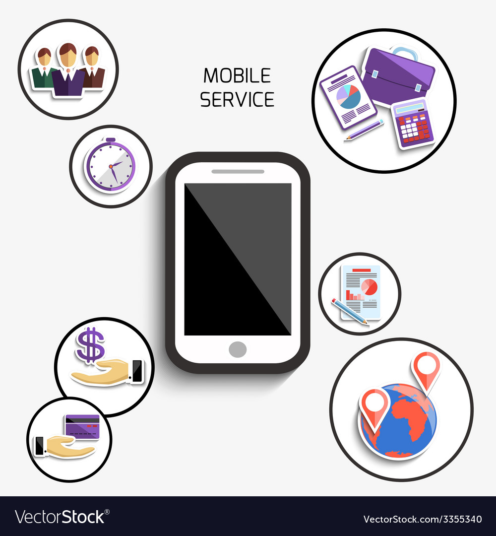 Concept of mobile services for business vector | Price: 1 Credit (USD $1)