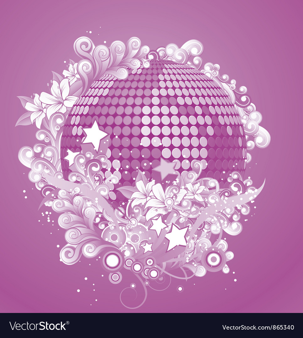 Discoball with floral vector | Price: 1 Credit (USD $1)