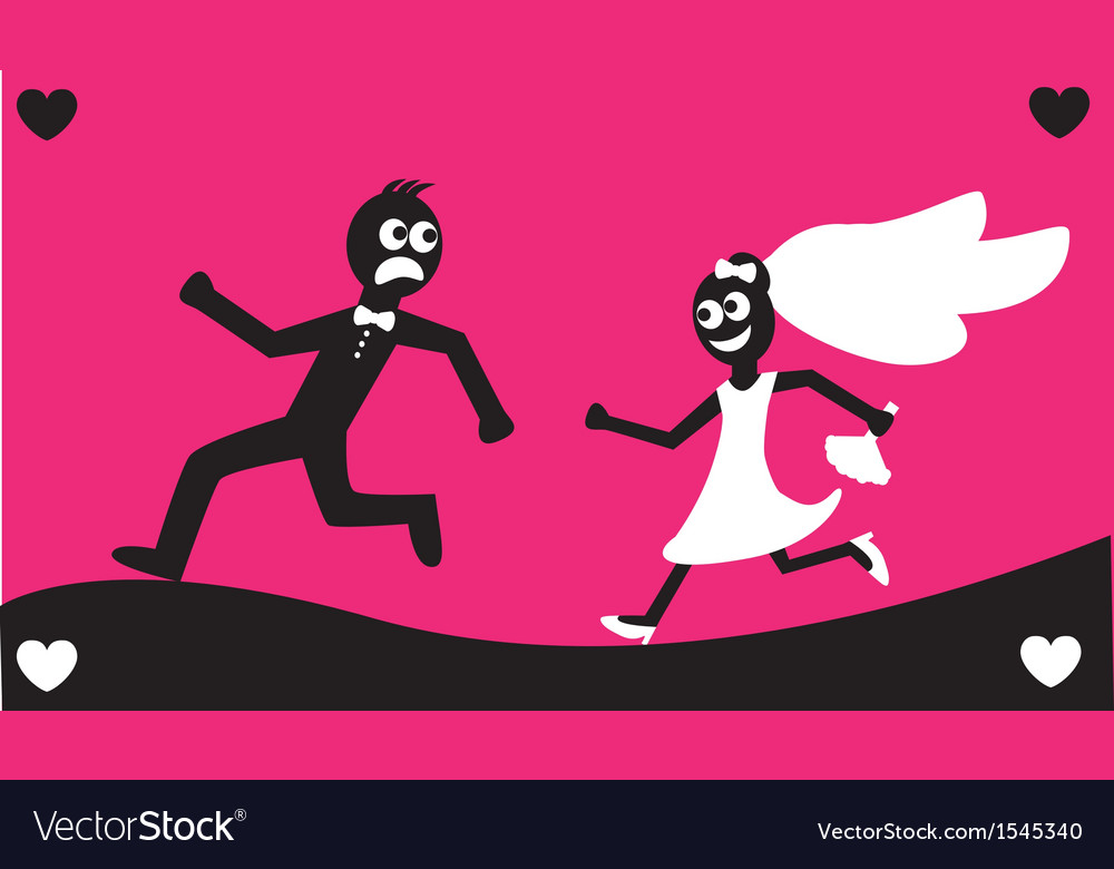 Groom runs away from the bride vector | Price: 1 Credit (USD $1)