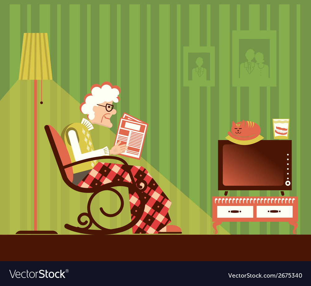 Old woman sitting and reading newspaper vector | Price: 1 Credit (USD $1)