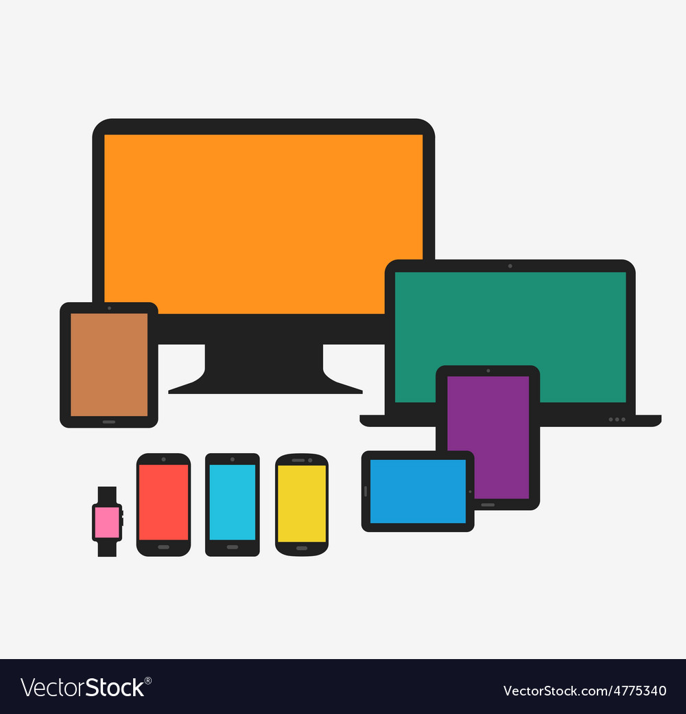 Responsive technology devices mock up vector | Price: 1 Credit (USD $1)