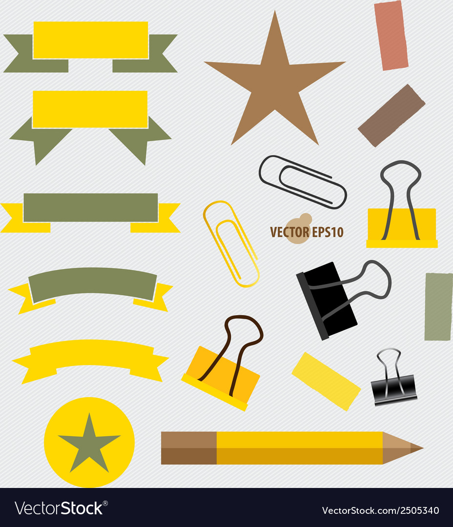Ribbons set pencil paperclip and sticker vector | Price: 1 Credit (USD $1)