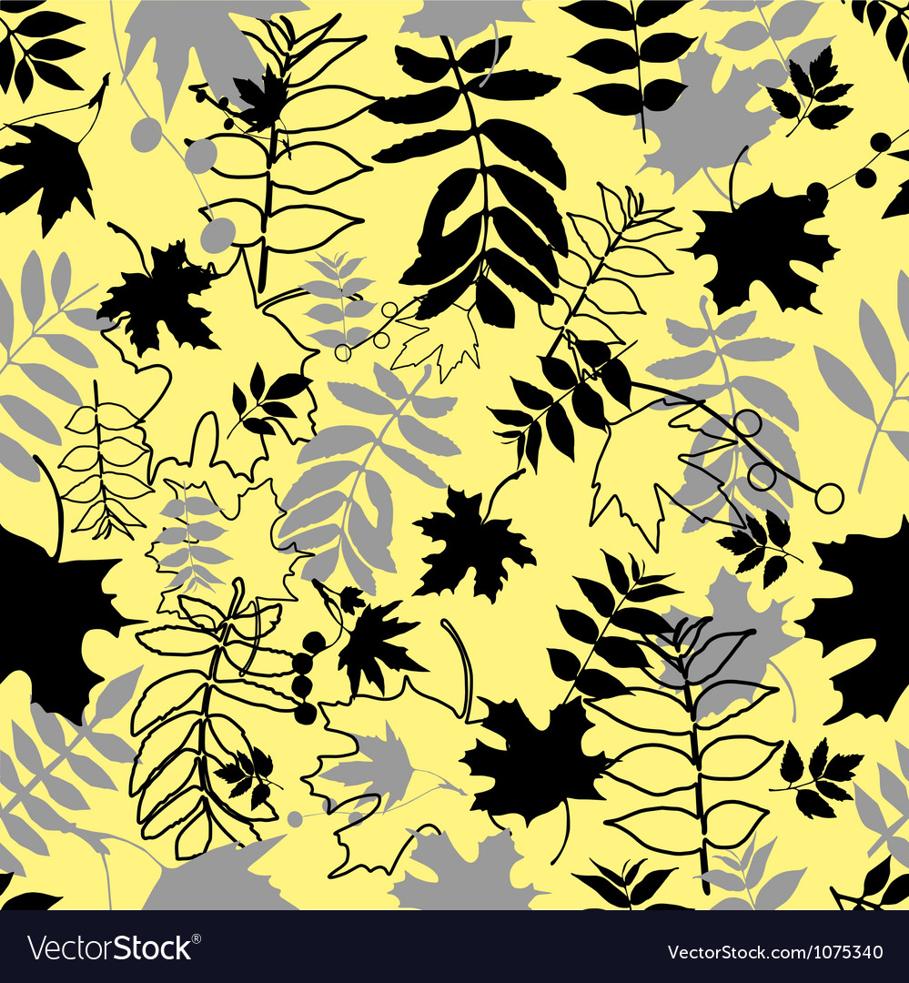 Seamless black leaves vector | Price: 1 Credit (USD $1)