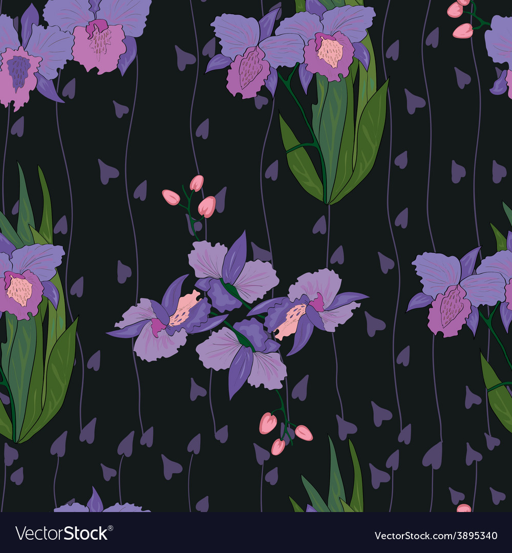 Seamless iris pattern in black vector | Price: 1 Credit (USD $1)