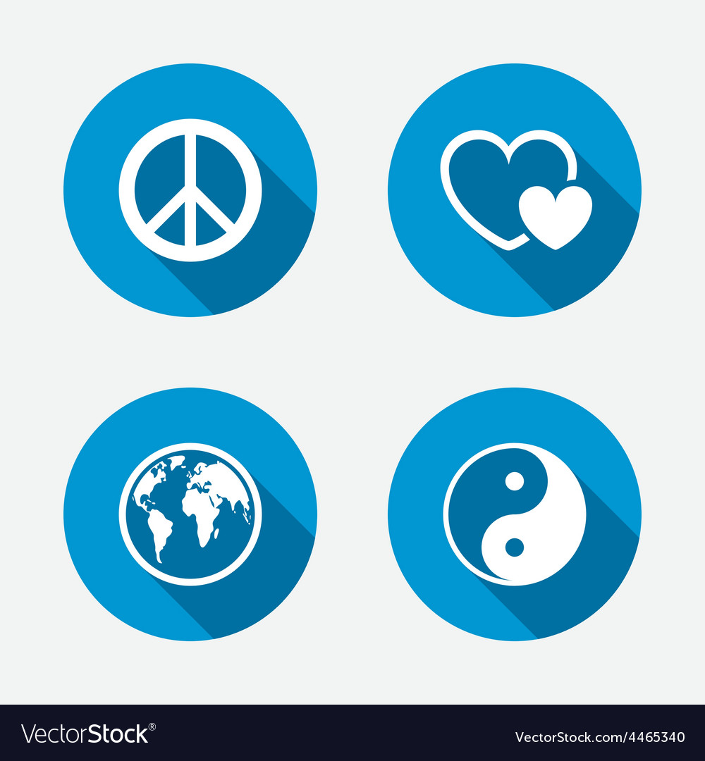 World globe icon ying yang sign hearts love vector | Price: 1 Credit (USD $1)