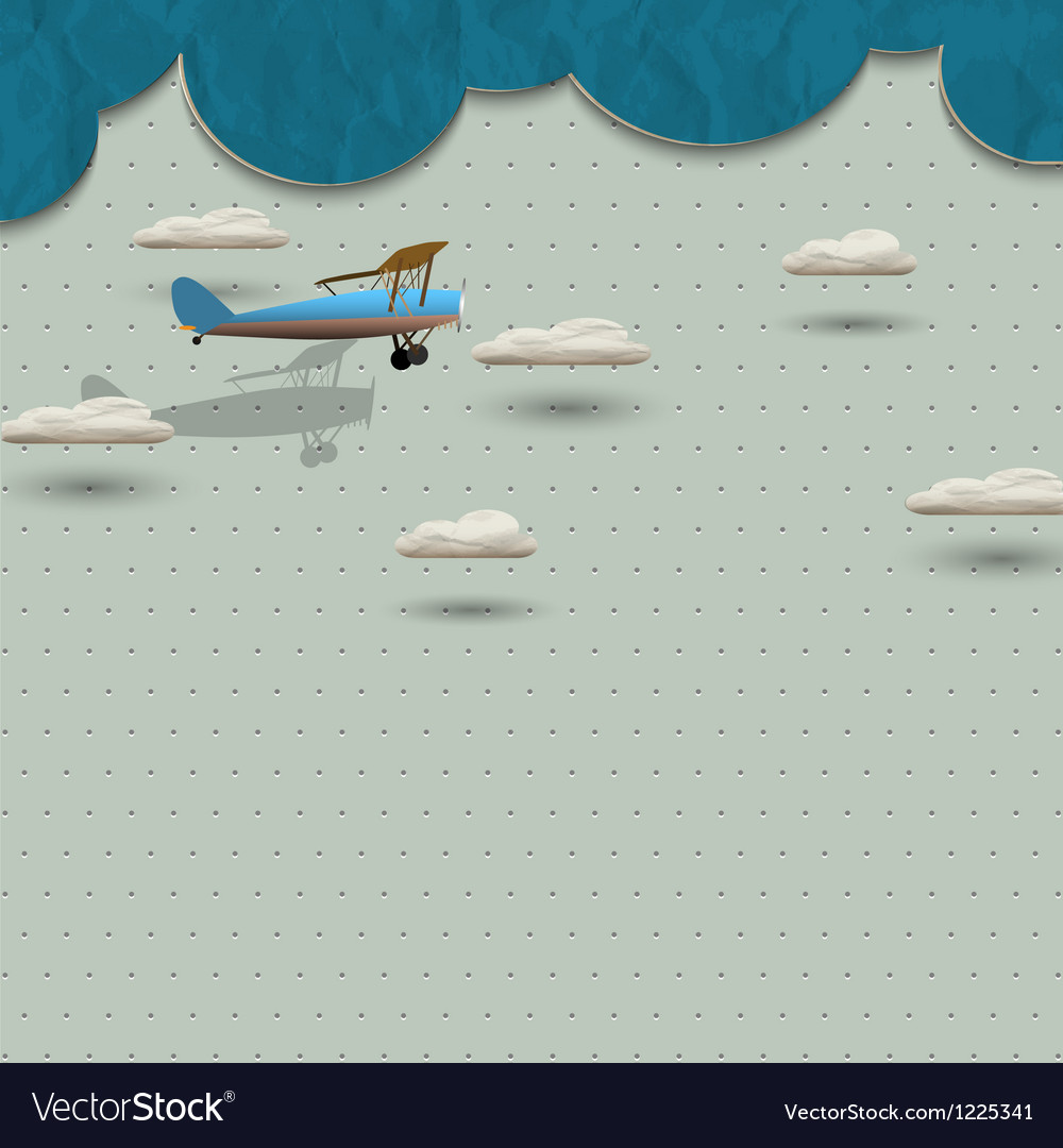 Airplane and clouds from paper vector | Price: 1 Credit (USD $1)