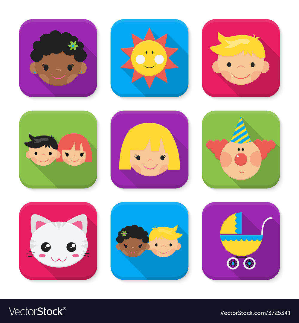Childhood squared app icon set vector | Price: 1 Credit (USD $1)